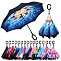 Owen Kyne Windproof Double Layer Folding Inverted Umbrella, Self Stand Upside-Down Rain Protection Car Reverse Umbrellas with C-Shaped Handle (Interstellar Blizzard)