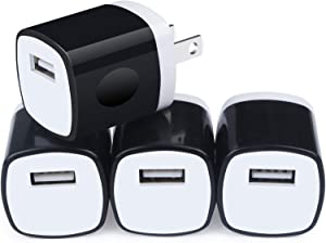 Charging Box for iPhone, Charger Block, Power Bricks, NonoUV 4-Pack 1A Single Port USB Plug in Wall Charger Adapter Charger Cube for iPhone SE 11 Pro XR XS X 8 7 6 6s Plus, Samsung, Android, Kindle