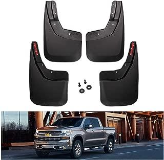 KIWI MASTER Mud Flaps Compatible for Chevy Silverado 1500 (2014-2018), 2500/3500 (2015-2018) Heavy Duty Molded Splash Guards Front & Rear Set
