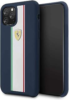 جراب لهاتف ايفون 11 برو من فيراري من السيليكون بتصميم عصري مخطط- لون كحلي