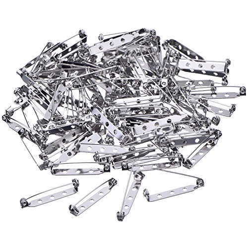 100 Pieces Silver Tone Pin Back Clasp Brooch Name Badge Craft (1.26 Inch)