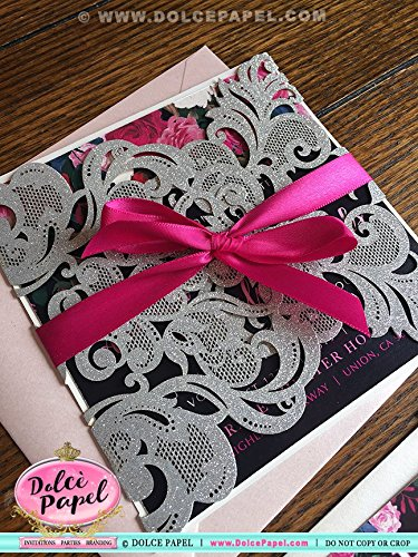 20 Silver Glitter and Black Lace Rose Floral Watercolor Laser Cut 1st Pocket Wedding Invitations ANY COLORS