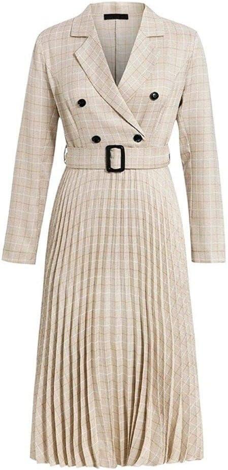 Choice Free shipping on posting reviews KAKAYO Vintage Pleated Belt Plaid Dress Office Women Elegant Lad