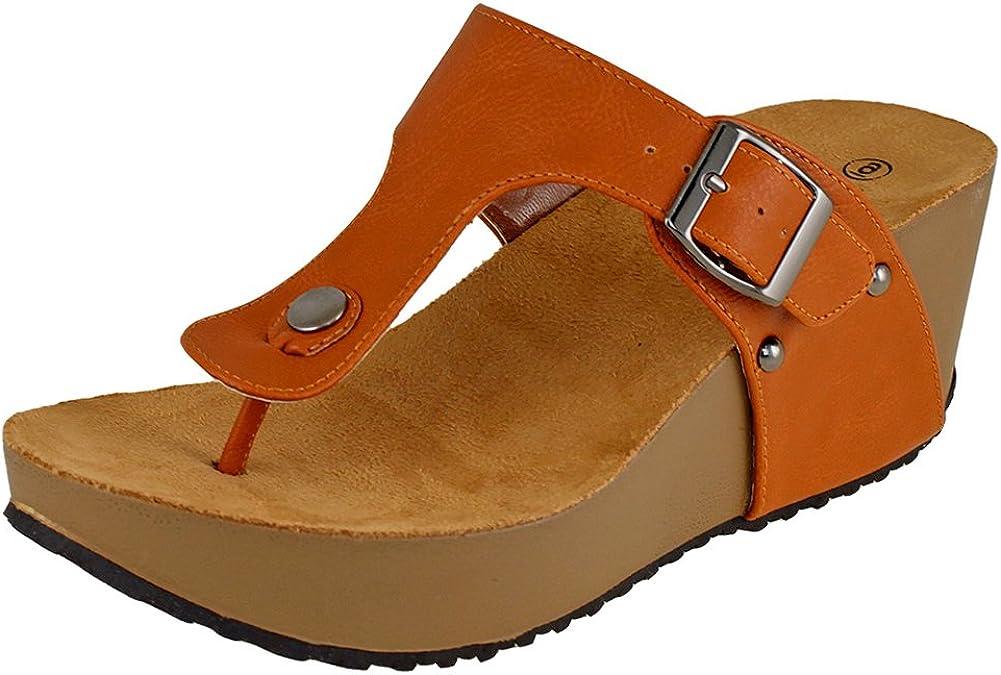 Popular products Cambridge Select Ranking TOP18 Women's Thong Slip-On Wedge Slide Sand Platform