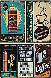 UNIQUELOVER Metal Tin Signs, Coffee Bar Sign, Premium Coffee Sign Retro Vintage Garage Sign for Home Kitchen Wall Art Posters Pub Bar Plaque Decor 12 X 8 Inches / 30 x 20cm
