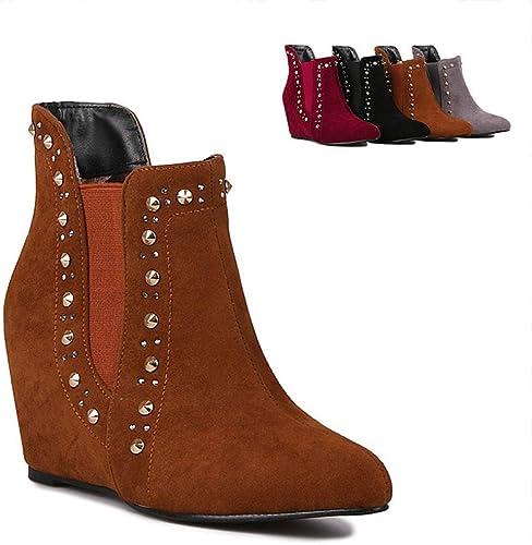 Fuxitoggo Bottes pour Les Les Les dames - Bottes Courtes Courtes augHommestées Chaussures compensées en Cuir Mat à la Mode pour Les Les Les dames Bottes Chaudes d'hiver 36-43 (Couleuré   Marron, Taille   43)  shopping en ligne