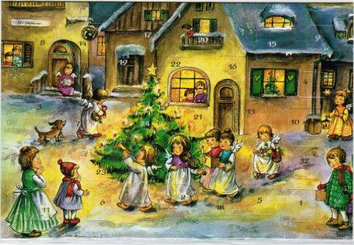 KORSCH VERLAG Adventskalenderkarte Engel mit Trompete L.H.