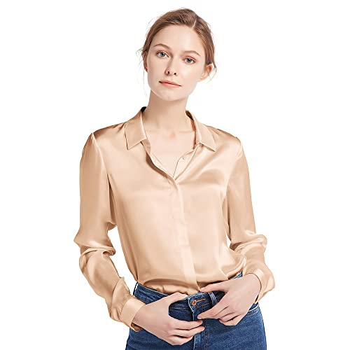 e946c3d4 LilySilk Women's 100 Silk Blouse Long Sleeve Lady Shirt 22 Momme Pure  Charmeuse Silk