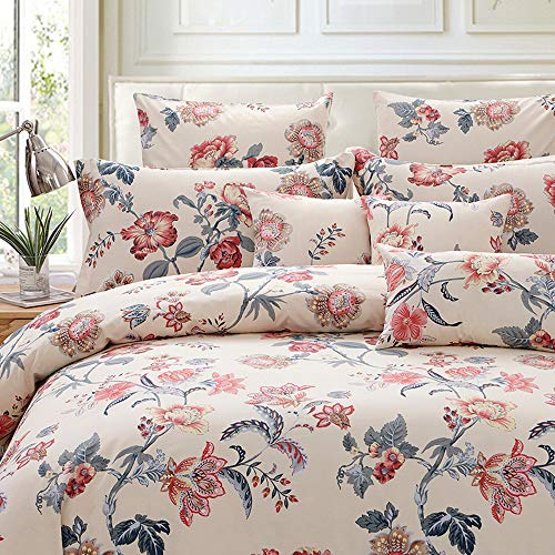 FADFAY Duvet Cover Set Farmhouse Bedding Vintage Peony Shabby Floral Bedding 100% Cotton Super Soft Hypoallergenic Yellow and Gray Bedding with Hidden Zipper Closure 3 Pieces King/Cal King Size