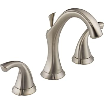 Delta Faucet Addison Widespread Bathroom Faucet Brushed Nickel, Bathroom Faucet 3 Hole, Bathroom Sink Faucet, Metal Drain Assembly, Stainless 3592LF-SS