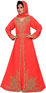Women's Floor Length Maxi red Caftan Designer with Party Look with Hijab
