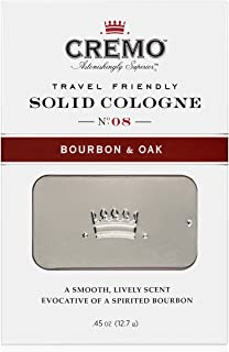 Cremo Solid Cologne That Fits In Your Pocket So You Can Apply Discreetly - Bourbon & Oak.45 Ounce Tin