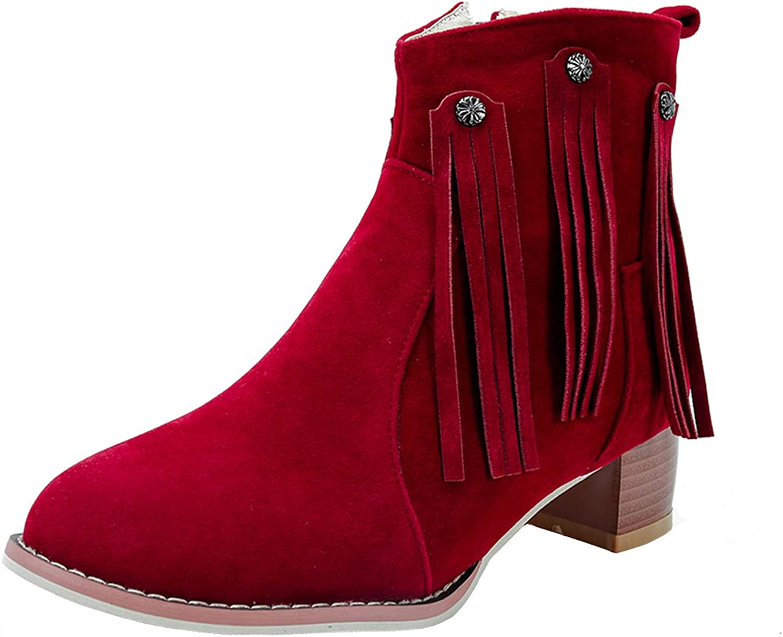 AIYOUMEI Women's Round Toe Side Zipper Block Heels Tassel shoes Solid Autumn Winter Ankle Boots