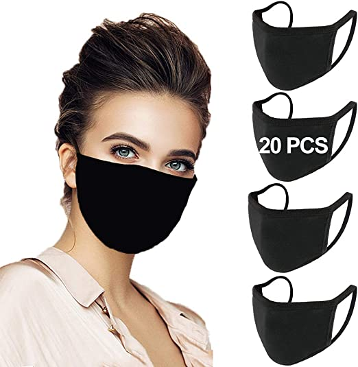 20 Pack Black Cotton Unisex Face Reusable & Washable for Kids Teens Adults Men Women for Outdoor Use