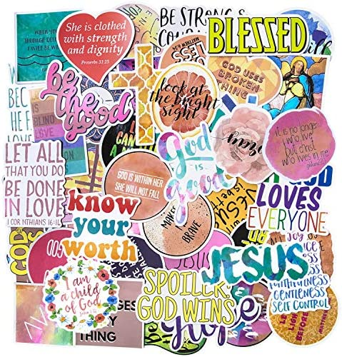 Jesus Christian Stickers, 50 PCS Laptop Stickers Religious Bible Faith Cross Stickers, Faith Wisdom Words Decals Stickers for Water Bottles, Christian Gifts