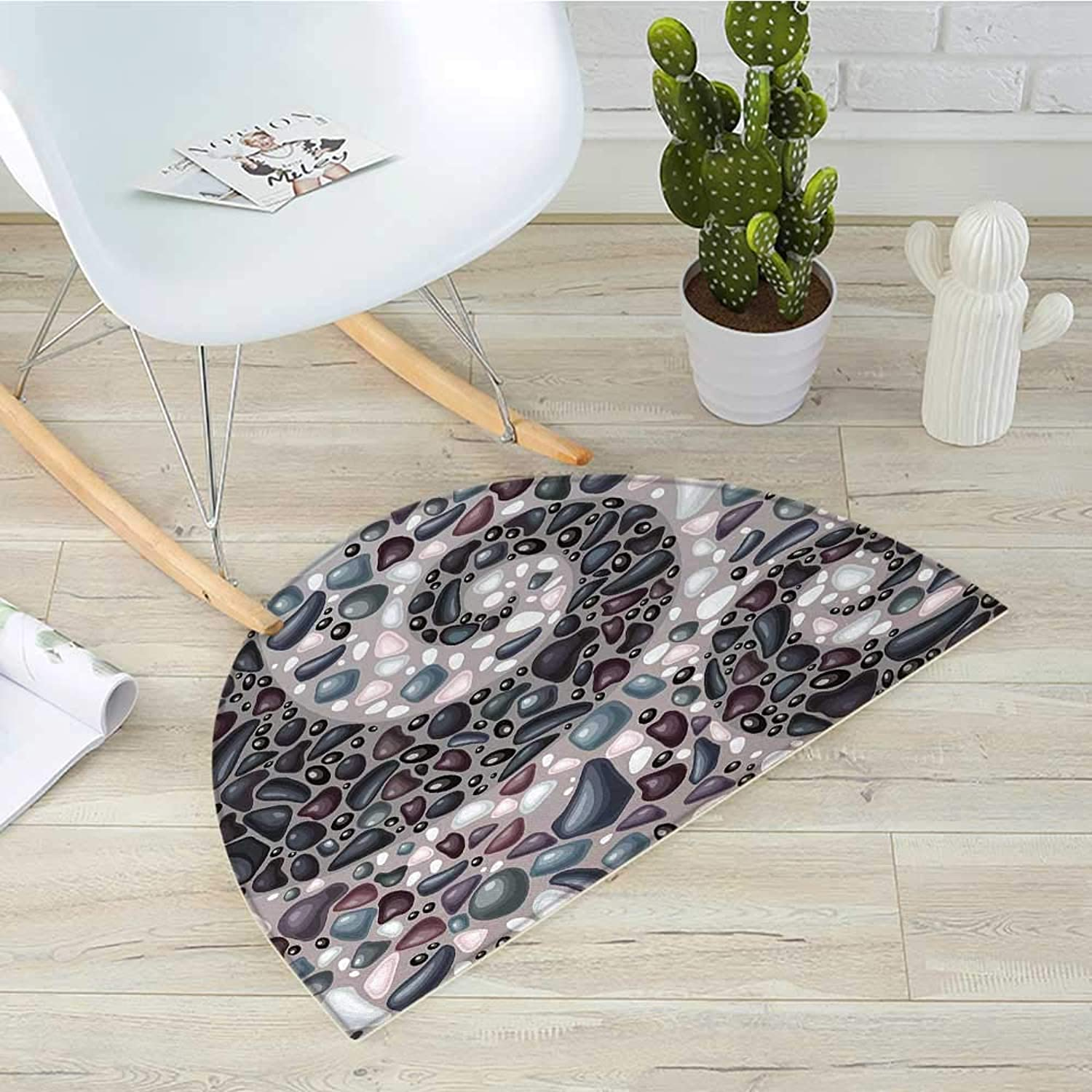 Nature Semicircular CushionGarden Mountains Volcanic Stones Image of Pebbles on Cement Print Entry Door Mat H 31.5  xD 47.2  Slate bluee Black and Dimgrey