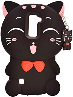 LG G Stylo 2 Silicone Case,Emily Fashion Super Cute 3D Cartoon Character Black Fortune Plutus Cat Protective Silicone Back Case Cover for LG G Stylo 2 LS775
