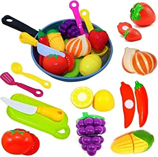 Cut Play Food Kitchen Accessories Set for Kids - Cutting Toy Fruits and Vegetables - Cooking Pot - Toy Knife & Cutting boa...