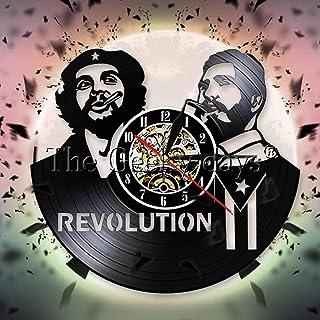 Fidel Castro Che Guevara Cuban Vinyl Record Wall Clock Havana Cuba Revolution Wall Clock Watch Decor Viva Cuba Libre Cuban...