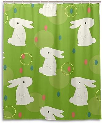 Mikyu シャワーカーテン おしゃれ 防水 防カビ バスカーテン 取り付け簡単 お風呂 浴室 150cm*180cm リング付属 兎柄 可愛い