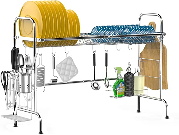 Over The Sink Dish Drying Rack ISPECLE Large Premium 201 Stainless Steel Dish Rack With Utensil Holder Hooks For Kitchen Counter Non Slip