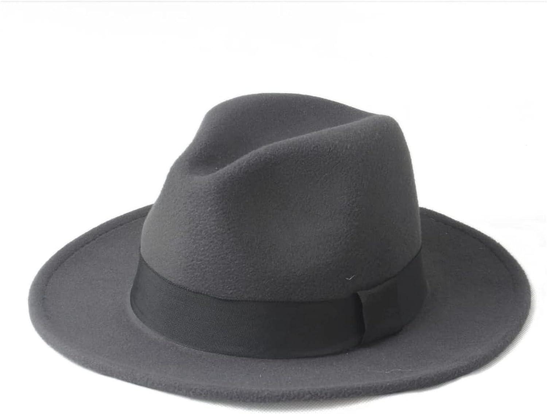 chenghuax Sun hat Autumn Winter Design Wool Panama Top Hat Women's Men's Fedora Hat Wide Brim Sombreros Jazz Church Cap Beach hat (Color : 7, Size : 57-59CM) (Color : 5, Size : 7-7 1/4)