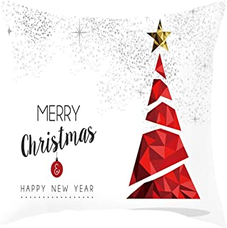 Christmas Pillow Covers 18 x 18 Inches for Home Car,2019 New Throw Pillow Case Zippered Square Christmas Tree,Elk,Santa Claus, Snowman by Chaofanjiancai
