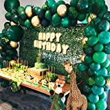 Jungle Theme Party Supplies :143pcs Green Balloon Garland Arch Kit, with 23 Green Palm Leaves for Birthdays, Baby Shower, Safari Party Decorations