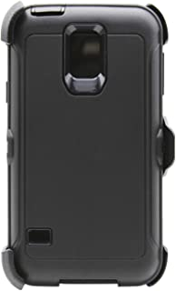 WallSkiN Turtle Series Cases for Samsung Galaxy S5 (Only) Tough Protection with Kickstand & Holster - Shadow (Black/Black)
