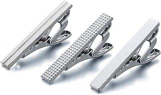3 Pcs Tie Clips for Men Tie Bar Clip Set for Regular Ties Necktie Wedding Business