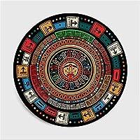 円形ラグカーペットラグ 子供の部屋のベッドルームカーペットポリエステル100%のためのリビングルームの色マヤエスニックスタイルのパターンラウンドカーペットラグのためのエリアラグの寝室のカーペット (Size : 40cm diameter)
