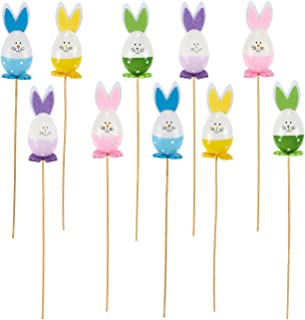 Flower Arrangement Picks - 10-Piece Easter Egg Rabbits Flower Picks Set, Plastic Bunny Floral Picks Wooden Sticks for Vase Lawn Flower Pot Decoration, 5 Assorted Colors, 1.6 x 13.5 x 1.6 Inches