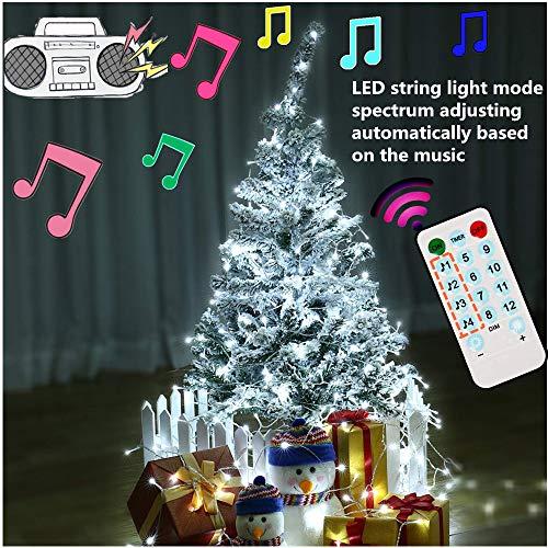 Cadena de luces LED para árbol de Navidad, tira musical 100 LED electrica y con pilas, LED cortina de luces 10m, 12 modos, luces para fiestas, bodas, halloween, decoración (blanco frio)
