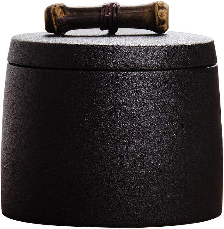 Ceramics Pet Cremation Urn, Dog Cat Pet Memorial Box Ashes Handmade Remembrance Urn(8.6  8cm Black)