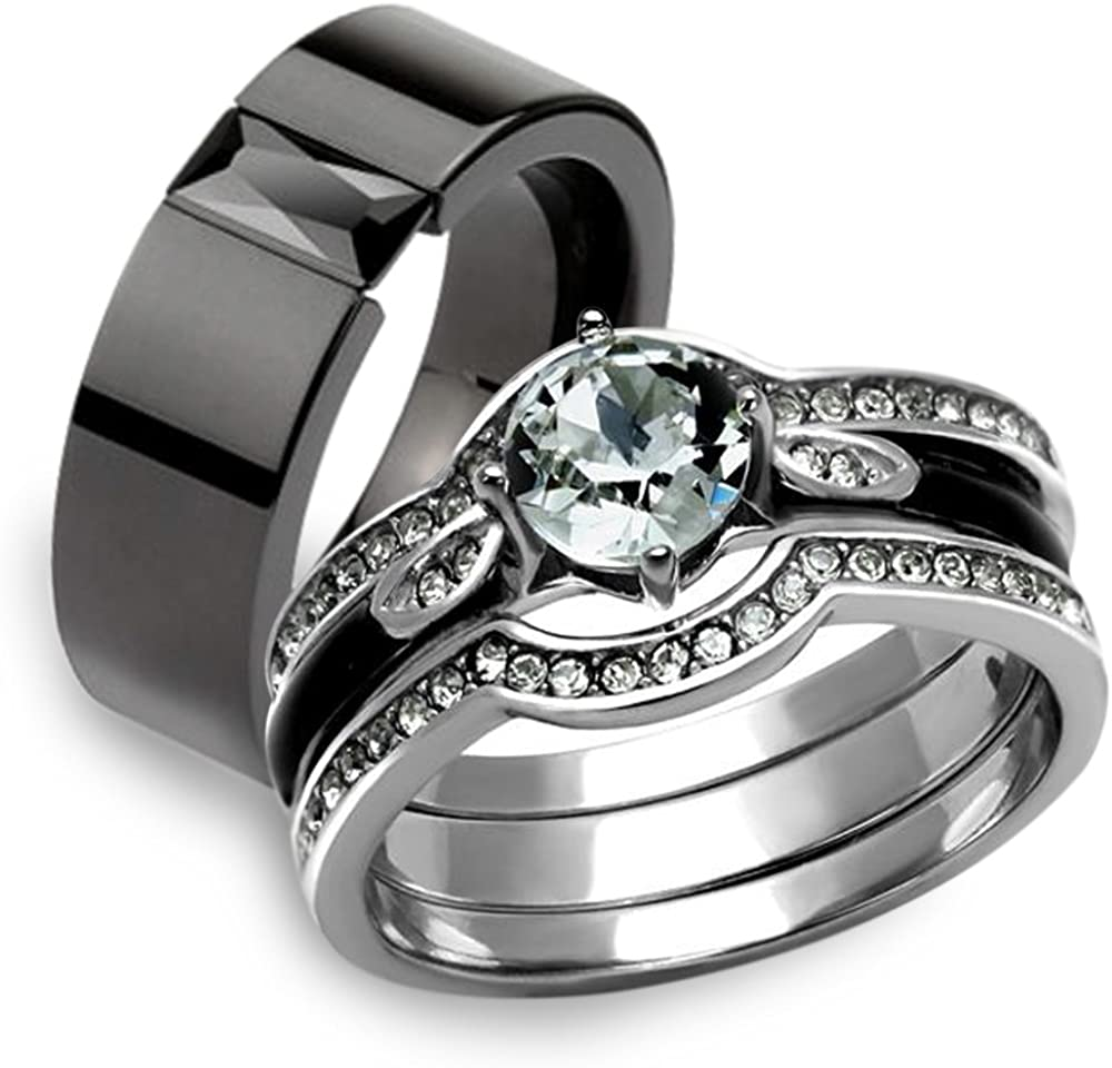 Marimor Phoenix Mall Jewelry His Dedication Hers 4Pc Silver Steel Stainless We Black and