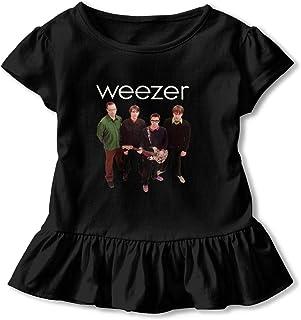 Weezer Bandウィーザー 女の子 半袖 Tシャツ ガール キッズ フリル フレアスリーブ 無地 カジュアル 可愛い 柔らか 上着 赤ちゃん服 子供服 春夏服 日常生活