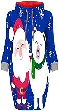 MoonHome Women's Christmas Snowflake Print Turtleneck Loose Long Sleeve Drawstring Sweater Dress
