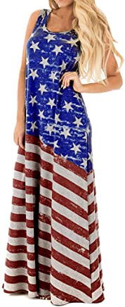 Caopixx Women's Summer Dress Sleeveless Striped Flowy O-Neck Casual Long Maxi Dress