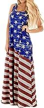 Women`s July 4th American Flag Printed Sleeveless Maxi Dress Stars Stripes Dresses