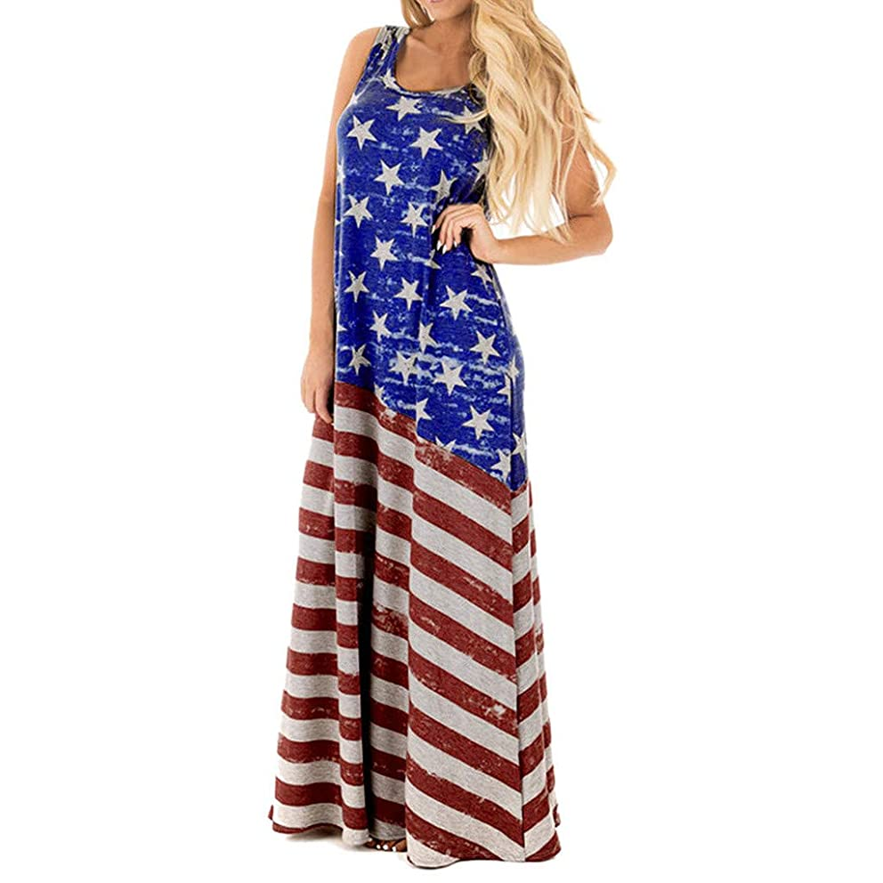 Ximandi Women's Nation Flag Print Round Neck Sleeveless Casual Swing Beach Long Maxi Dress