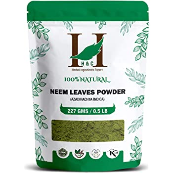 H&C Natural and Organically Grown Neem Leaves Powder (Azadirachta Indica), 227 Grams for Healthy Hair & Hair Cleanser | Skin Acne Face Packs