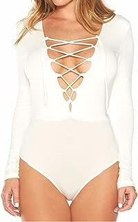 Shelbidamon Women Long Sleeve Deep V Lace-Up Bodycon Jumpsuit Bodysuits