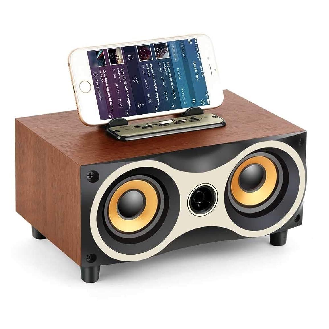 大臣市長禁じるEryanone X6ポータブル木製ラジオスピーカーのサブウーファーがSteroワイヤレスFMデスクトップBluetoothスピーカー新