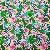 Stoff Baumwolle Meterware Jersey rosa Dschungel Flamingo