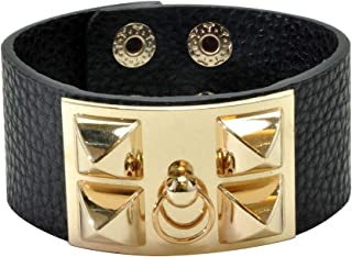 VANVENE Punk Leather Bracelet Cuff Adjustable Bangle Rock for Women Man Unisex Fashion (Punk-1)