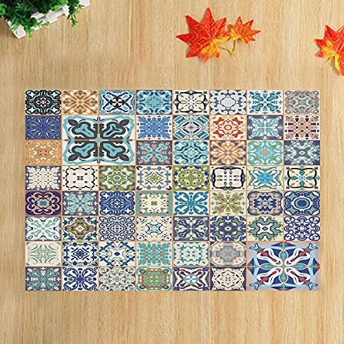 lovedomi Colorful Moroccan or Mediterranean Square Brick Pattern Bathroom Bathtub Carpet Anti-Slip Door Mat Floor Indoor Outdoor Front Door Mat Children's Bathroom Mat 15.7X23.6In