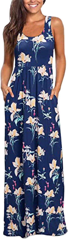 Hemlock Women Sleeveless Long Dress Floral Print Maxi Dresses Summer High Waist Slim Dress Beach Dresses with Pockets