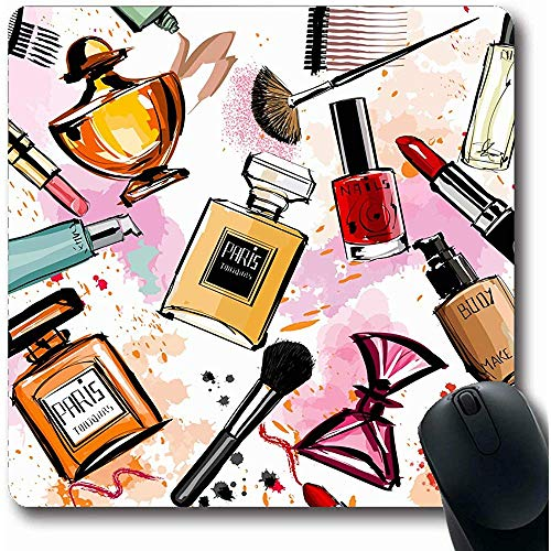 Mousepads Artiest Roze Make-up Aquarel Cosmetica Parfums Artistiek Patroon Meisje Schets Maak Oblong Vorm 18X22Cm Antislip Gaming Mouse Pad