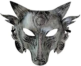 Halloween mask Animal Wolf Head mask Masquerade mask (Silver)