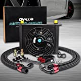 7' Electric Cooling Fan Kit + Universal 30 Row 10AN Aluminum Engine Transmission Oil Cooler + Oil Filter...